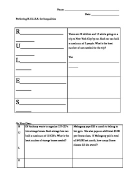 R.U.L.E.S for Solving Inequality Word Problems Guided Practice and Activity