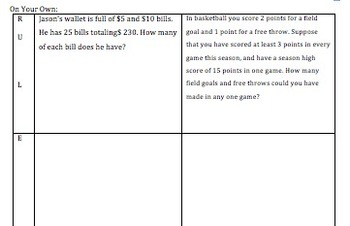 R.U.L.E.S for Solving Systems of Equations Word Problems Guided Notes & Practice