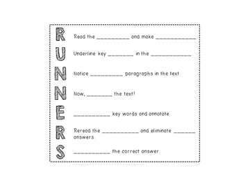 RUNNERS Bookmarks & Interactive Notebook Note Page