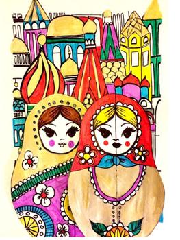 RUSSIA : Palace and Matryoshkas - coloring - graphics -cutting