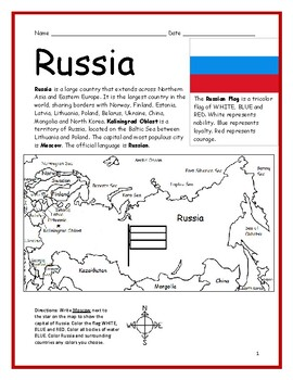 image about Printable Map of Russia identify RUSSIA - Printable handout with map and flag