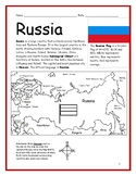 RUSSIA - Introductory Geography Worksheet with map and flag