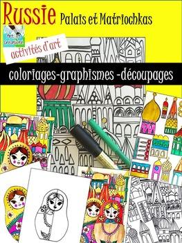RUSSIE (palais et matriochka) coloriages, graphismes et dé