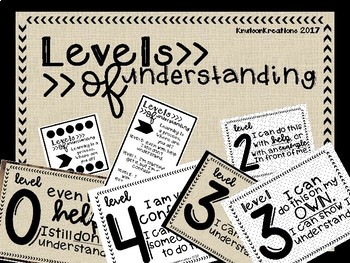 RUSTIC Level of Understanding Posters and Student Desk Tags