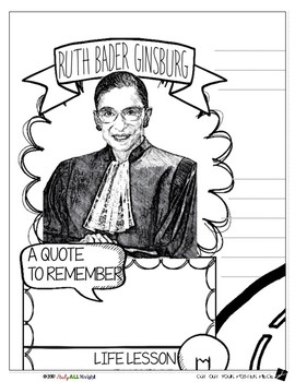 RUTH BADER GINSBURG, WOMEN'S HISTORY, BIOGRAPHY, TIMELINE, SKETCHNOTES, POSTER