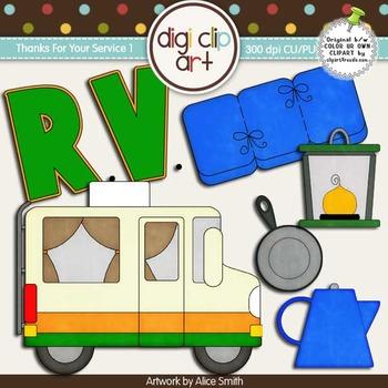 RV Camping 1-  Digi Clip Art/Digital Stamps - CU Clip Art