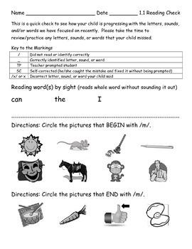 Reading Wonders K Unit 1 Weekly Assessments