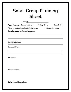 Reader's Workshop Small Group Lesson Plans