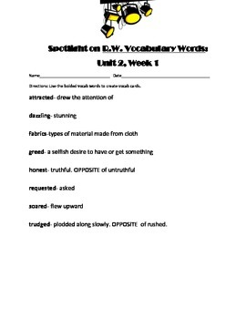 4th Grade Reading Wonders Vocabulary Definitions Unit 2 Week 1