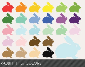 Rabbit Digital Clipart, Rabbit Graphics, Rabbit PNG, Rainbow Rabbit Digital