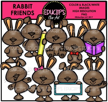Rabbit Friends Clip Art Bundle {Educlips Clipart}