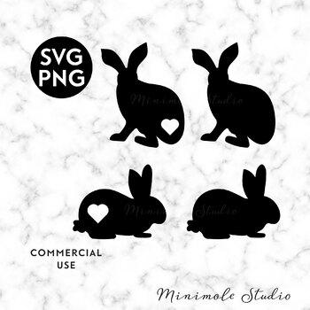 Rabbit Silhouette Clipart Easter Bunny Clipart Pet Svg Png By Minimole Studio