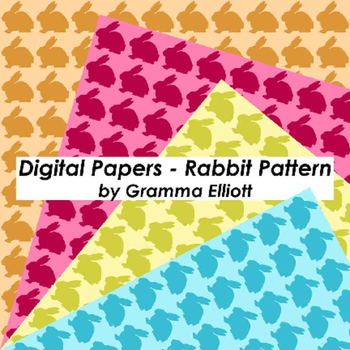 Rabbit Silhouette Pattern Digital Papers and Frames