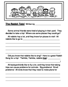 """Rabbit Tale!"" -- Story-Writing Template and Craft for Groups and Folder Games"