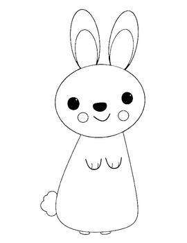 Rabbit Template For Art Project Coloring Page Outline Sheet