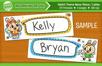 Rabbit Theme Name Plates or Labels - DIY Printable Back to