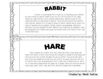 Rabbit Vs. Hare Compare and Contrast Activity ( Great for Easter)