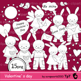 Rabbit, love, Valentine`s day black & white clipart, stamp, line art, coloring