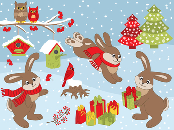 Rabbits Clipart - Digital Vector Rabbit, Christmas, Winter, Cardinal Clip Art