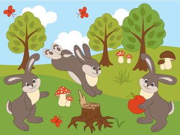 Rabbits Clipart - Digital Vector Rabbit, Mushroom, Tree, F