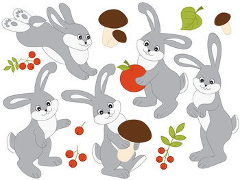 Rabbits Clipart - Digital Vector Rabbit, Mushroom, Tree, Forest Clip Art