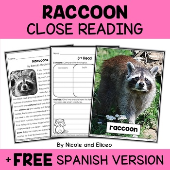 Close Reading Passage - Raccoon Activities