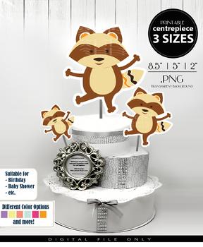 Raccoon Dance Baby Boy Centerpiece, Cake Topper, Clip Art Decoration in Brown