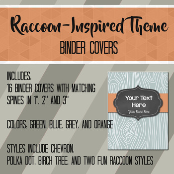Raccoon Inspired Editable Binder Covers and Spines