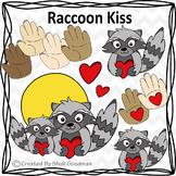 Raccoon Kiss clip art - kissing Hand