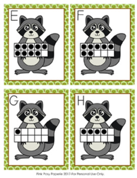Raccoon Ten Frames Count the Room