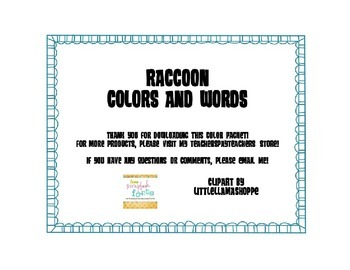 Raccoon Theme Colors with Words