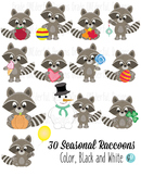 Raccoons Clipart for all Seasons