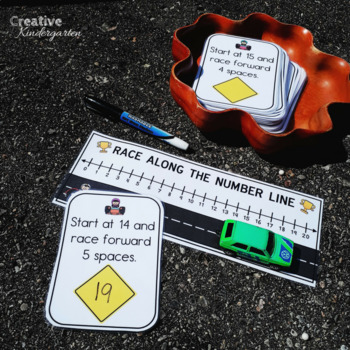 Race Along the Number Line Addition and Subtraction Task Cards for Kindergarten