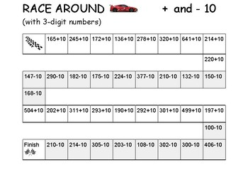Race Around -- Adding and Subtracting 10 -- GAME  (2.NBT.8)