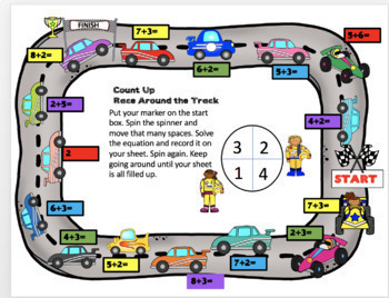 Addition Facts Fluency Practice By Strategy Race Around the Track Bundle