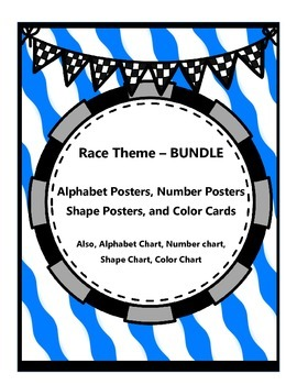 Race Bundle - Alphabet, Numbers, Shapes, Colors {Posters and Charts}