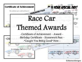 Race Car Awards Set