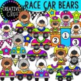 Race Car Bears Clipart {Racing Clipart}