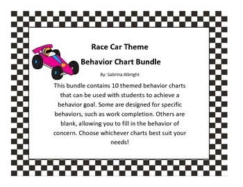 Race Car Behavior Chart Bundle