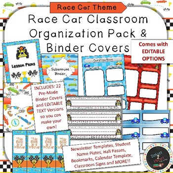race car binder covers and classroom organization pack tpt