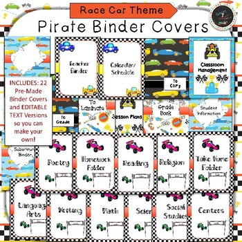Race Car Binder Covers and Classroom Organization Pack