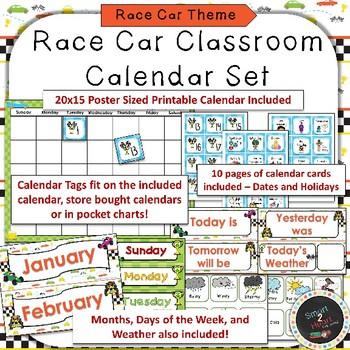 Race Car Calendar Set