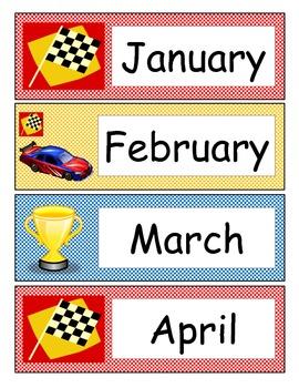 Race Car Calendar Theme