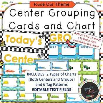 Race Car Center Grouping Cards and Chart