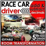 Add and Subtract Decimals | 5th Grade Race Car Room Transf