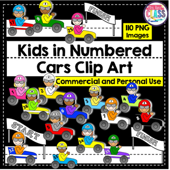 Race Car Clip Art with Numbered Race Cars 36 Boys & 36 Gir