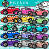 Race Car Clip Art   Rainbow Transportation Graphics for Classroom Decor