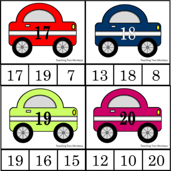 Race Car Clip Cards Numbers 1-20