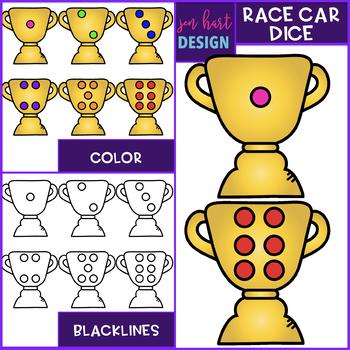 Race Car Dice Clip Art: Race Car Dice 1-6 {jen hart Clip Art}