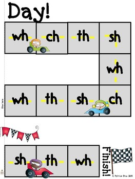 Race Car Digraph Printable Boardgame